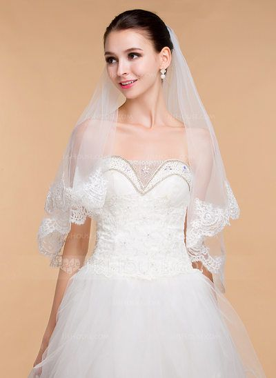 [US$ 16.99] One-tier Lace Applique Edge Elbow Bridal Veils With Lace