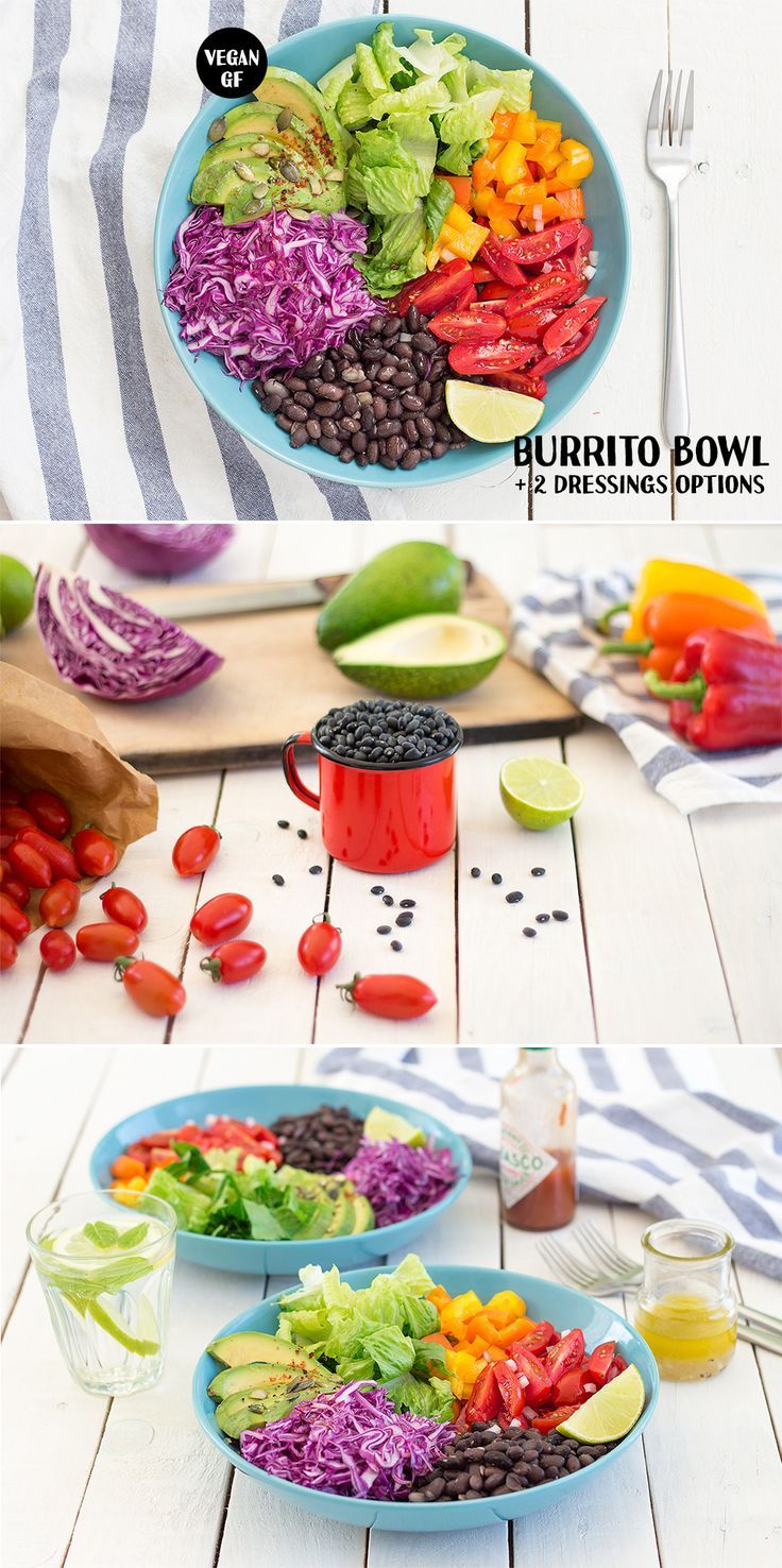 Vegan burrito bowl is perfect for hot days, when you crave lighter food and prefer quick, no-sweat recipes. It comes with two delicious dressings too.