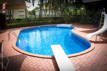 Inground Pools With Diving Board And Slide a picture of a straight wall kidney left inground swimming pool