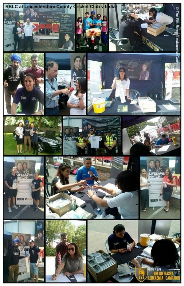 Collage of activity undertaken by #DMU Students at Grace Road in Leicester recruiting cricket fans to the Stem Cell Register with the Rik Basra Leukaemia Campaign during the match against India.