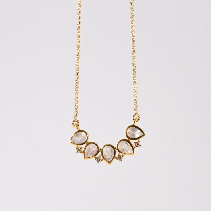Moonstone & Diamond Horizon Pendant Necklace