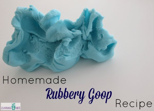 How to make homemade rubbery goop recipe for sensory play opportunities - safe for toddlers and kids