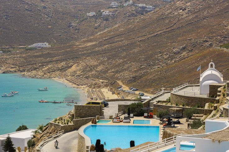 Panoramic view of Myconian Collection Hotels and Elia Beach
