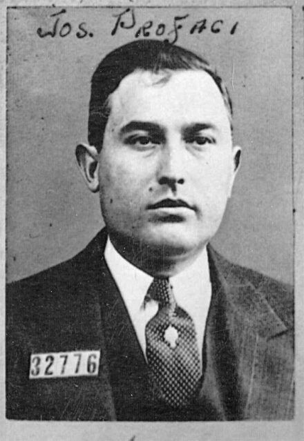 "Joe Profaci, founder of the Profaci (later Colombo) crime family (one of the ""Five Families"" in New York)"