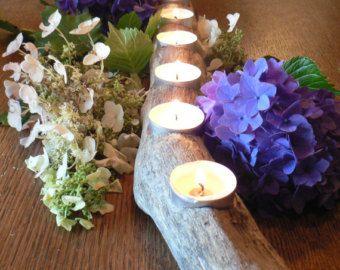 Sostenedor de vela de madera 105, pedazo de centro de madera, pieza central de boda, regalo, regalo de boda, regalo para él, decoración rústica, chimenea pieza