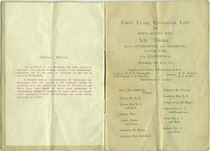 Titanic Survivors   Titanic Passenger List Booklet - Titanic Survivor - Online Exhibits ...