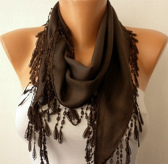 Brown Scarf   Pashmina  Scarf  Headband Necklace Cowl by fatwoman, $13.50