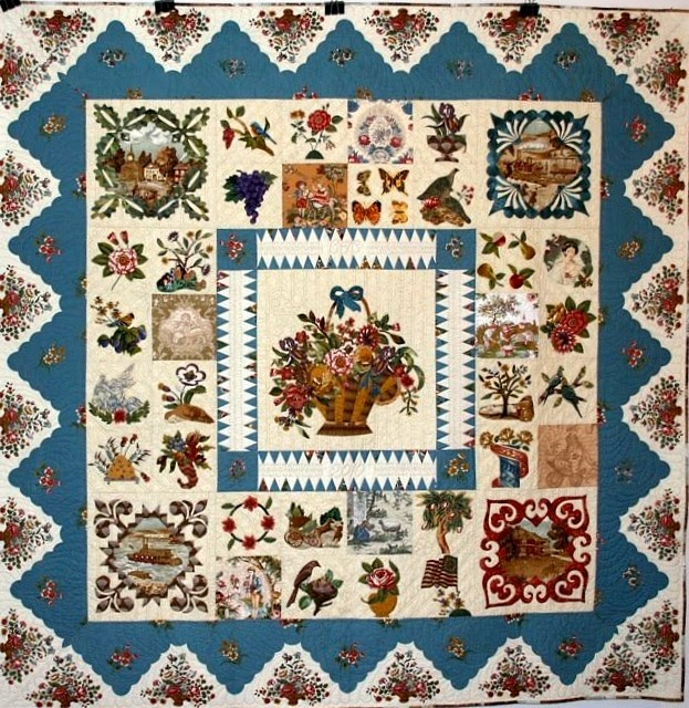 """Travels in Time"" by Cynthia Collier, posted by Dawn Heese at Linen Closet Quilts.  Inspired by the Baltimore Album quilts of the 1840s and 50s and the chintz broderie perse quilts of a decade earlier. Reproduction fabric from the Winterthur Museum (Sophia Pierce Collection); reproduction toile in the corner blocks by Kaye England. Block patterns by Elly Sienkiewicz; center block pattern by The Baltimore Applique Society (the Elizabeth MacCullough Hervy quilt)."