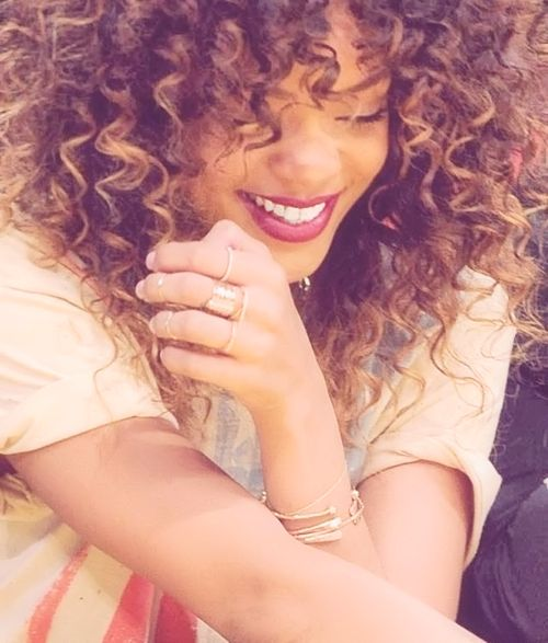 Curly hair - love the cut and the highlights!  Beautiful color