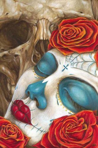 Skull Roses by Erik Quezada Tattoo Art Print Sugar Skull Day of The Dead | eBay