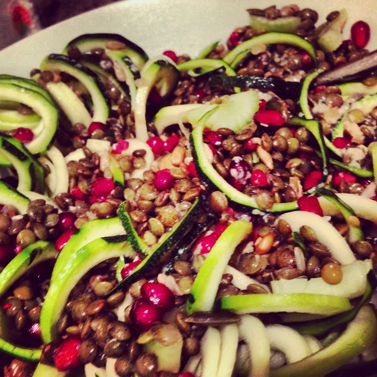 Spiraliser courgette lentil and pomegranate