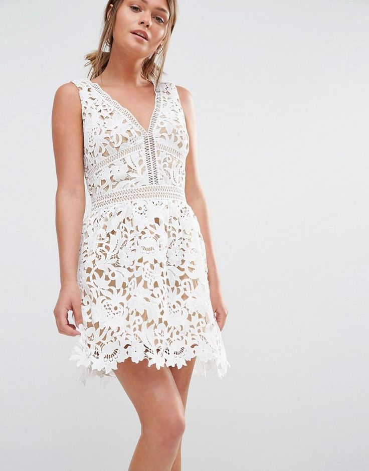 New Look | New Look Premium Plunge Crochet Lace Skater Dress at ASOS