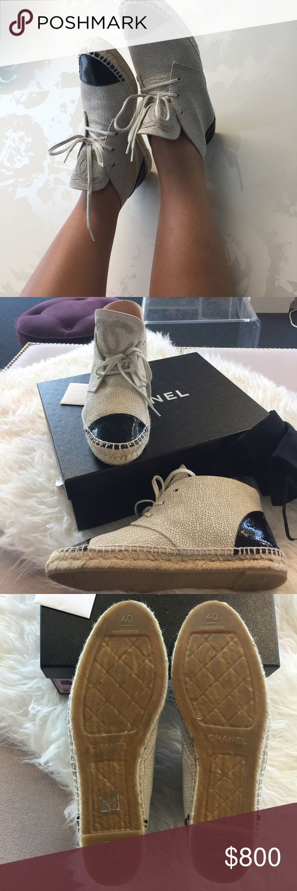 SALE!!! Chanel High Top Espadrilles (size 40) Chanel High Top Crackled Leather Espadrilles; Light Beige; Size 40. Chanel espadrilles notoriously run small so these would fit an 8.5-9. Will come with dust bags and box. 100% Authentic (don't sell fakes! Respect the designers!) I believe these are no longer sold in stores but feel free to correct me  I've priced them accordingly based on current market value but there's some wiggle room for negotiations.  thanks! CHANEL Shoes Espadrilles
