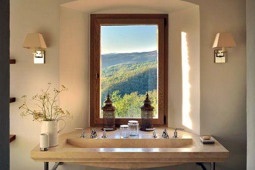 view.Modern Bathroom, Powder Bath, Beautiful Bathroom, Bathroom Sinks, Bathroom Shower, Windows Shades, Modern Design, Windows View, Bathroom Windows