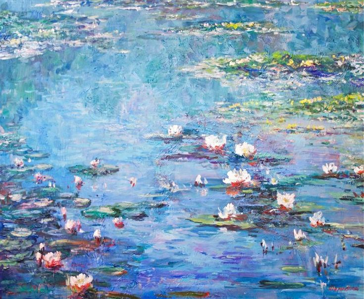 """""""Water Lilies. 110x90cm."""" by Irina Alexandrina. Oil painting on Canvas, Subject: Landscapes, sea and sky, Impressionistic style, One of a kind artwork, Signed on the front, This artwork is sold unframed, Size: 110 x 90 x 3 cm (unframed), 43.31 x 35.43 x 1.18 in (unframed), Materials: oil"""