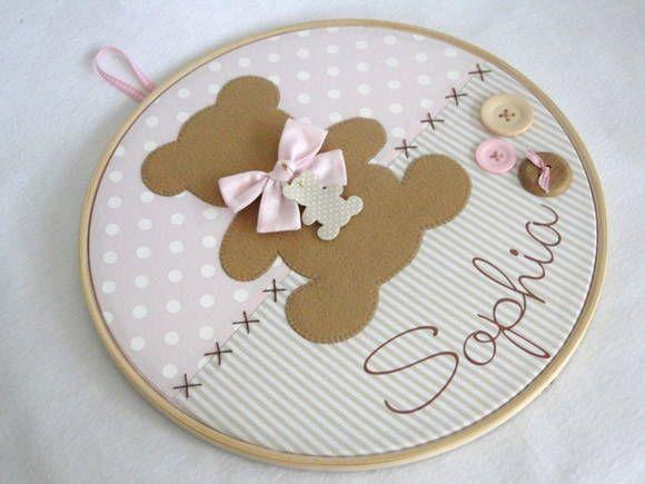 Quadro Maternidade Bastidor Urso | Débora Radtke | 3441BB - Elo7