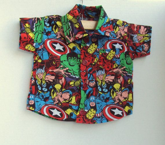 Boy's Button-up Avengers - baby Iron Man - baby Incredible Hulk - baby Captain America - baby Wolverine - baby shirt - toddler shirt on Etsy, $27.00