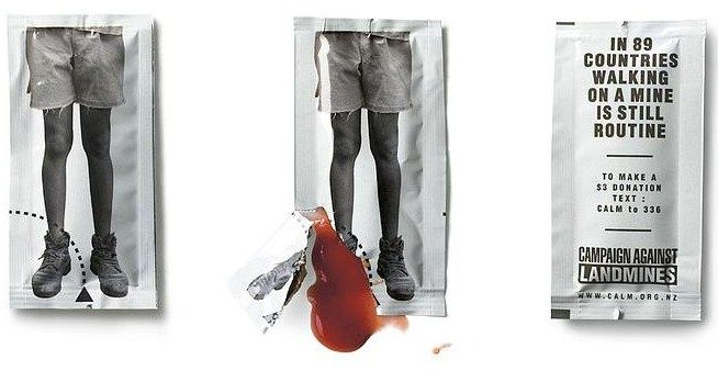 Ketchup sachet campaign against land mines.