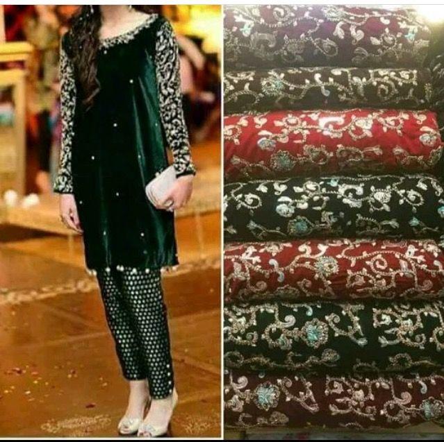Embroidered velvet kameez with jamawar trousers   #velvet #kameez #dress #fashion #jamawar #pakistanisuits #pants