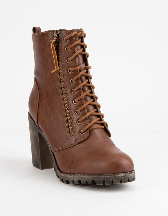 59588823828 SODA Malia Tan Womens Heeled Combat Boots | Let's get some shoes. in ...