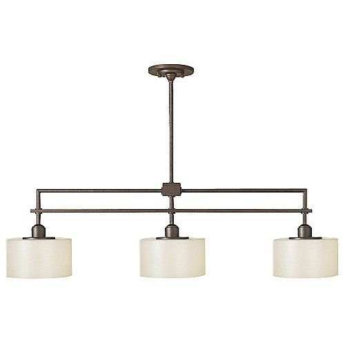 The Feiss Sunset Drive Linear Suspension - bronze with pearl glass shade, 3 halogen bulbs  $600