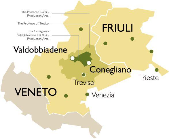 Prosecco region map