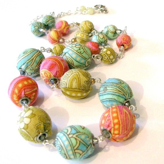 Lovely fabric Necklace Beaded Jewelry  tangerine pink by kangas, $67.00