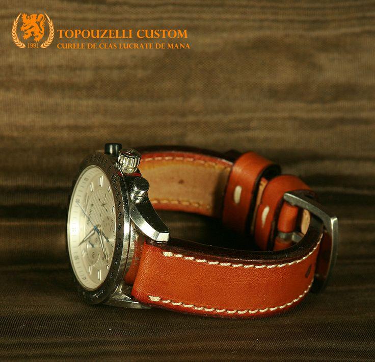 """Topouzelli custom 288 - Curele de ceas din piele lucrate de mana la comanda. jeanraval@gmail.com 0727167802 0771296409 http://topouzelli.blogspot.ro Curea de ceas 120/75/20 mm. Model """"Capo verde"""", cert. autenticitate.  Unicat. Piele vitel. 70 lei"""