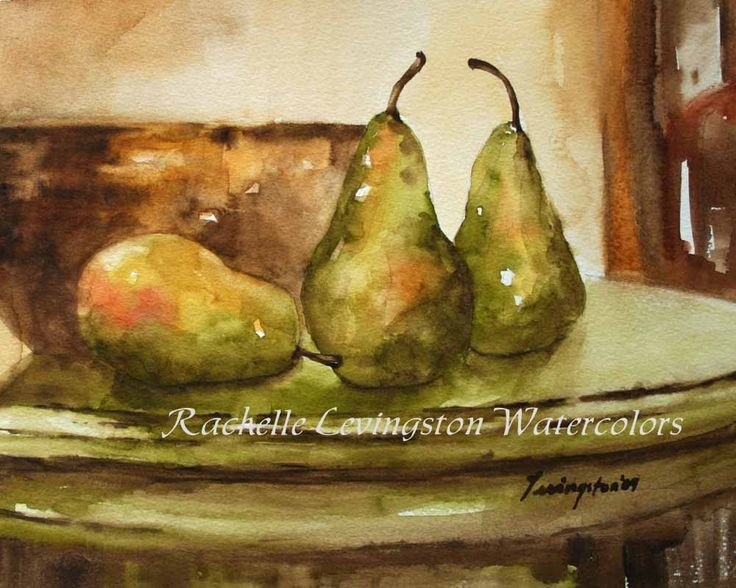 Kitchen Wall Decor Yellow Pottery Bowl With Pears PRINT Watercolor Painting  8 Pear Artwork Picture Kitchen Decor Wall Hanging Home Decor