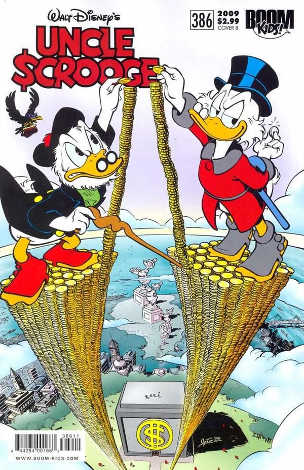 Flintheart and Scrooge on the cover of Uncle Scrooge #386.