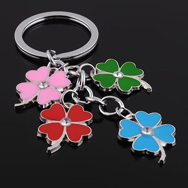 Lucky 4 Leaf Clovers handbag charm / key rings accessory