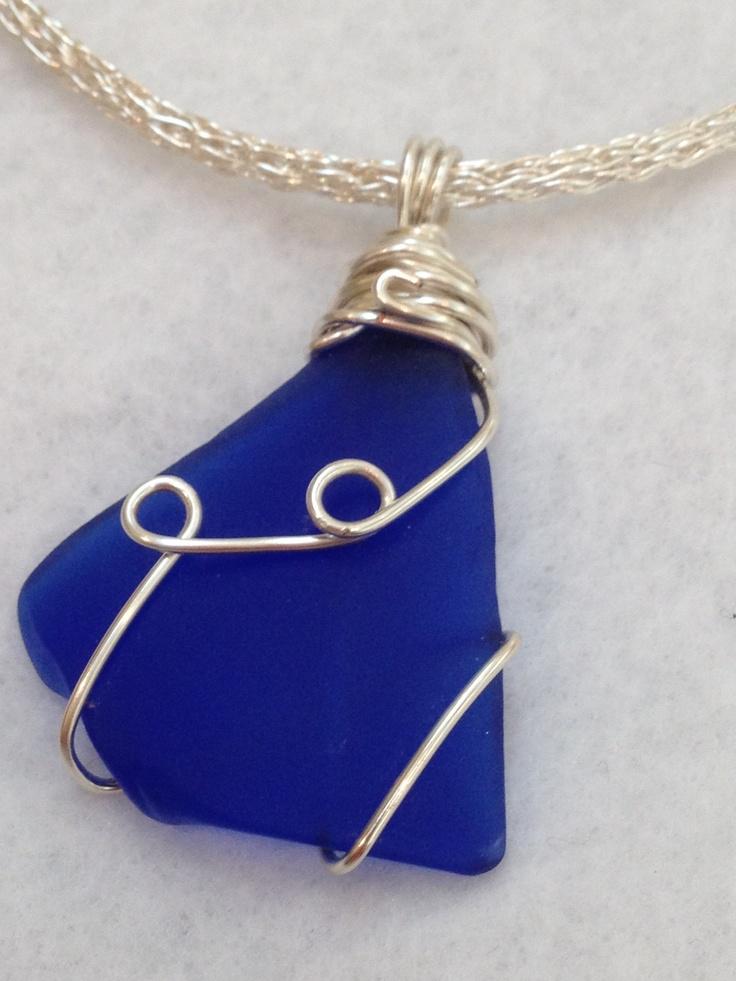 Cobalt Blue Seaglass wrapped Pendant