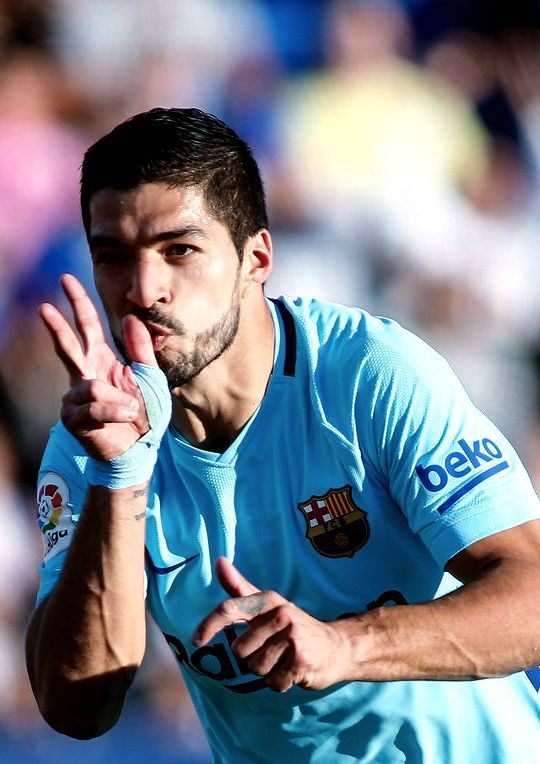 Luis Suarez after scoring a goal during the Spanish league football match Leganes vs Barcelona