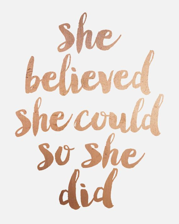 Girls Rose Gold Wallpaper: Inspirational Printable // Quote Printable (faux Copper