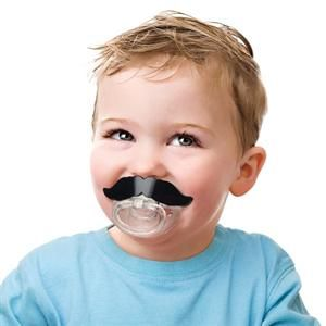 Mustache Pacifier (BPA free non toxic plastic and baby-grade silicone) => little head turner