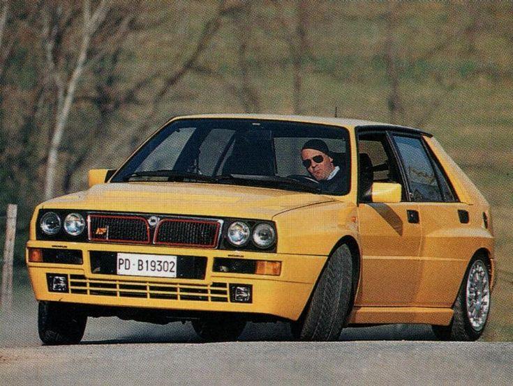 Miki Biasion driving his Giallo Lancia Delta Integrale Evo - Yellow Car