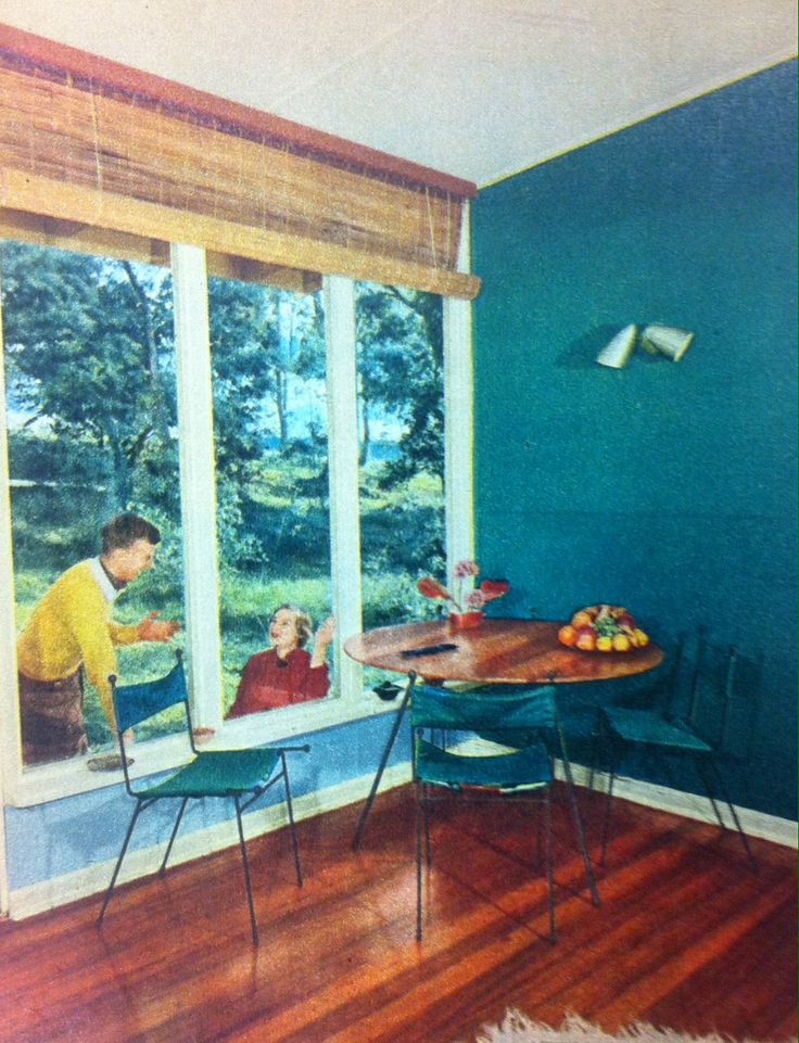 Dining setting designed by Clement Meadmore, c. 1955. Features 3 legged table and canvas chairs.