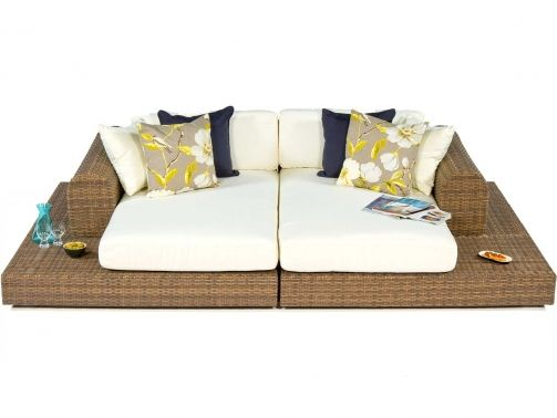 garden daybed large natural rattan outdoor daybed with cushions