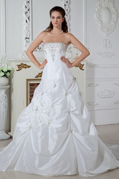 Taffeta A-Line Strapless Bridal Dress sfp0199 - http://www.shopforparty.com/taffeta-a-line-strapless-bridal-dress-sfp0199.html - COLOR: White; SILHOUETTE: A-Line; NECKLINE: Strapless; EMBELLISHMENTS: Applique , Beading , Ruched , Sequin; FABRIC: Taffeta -