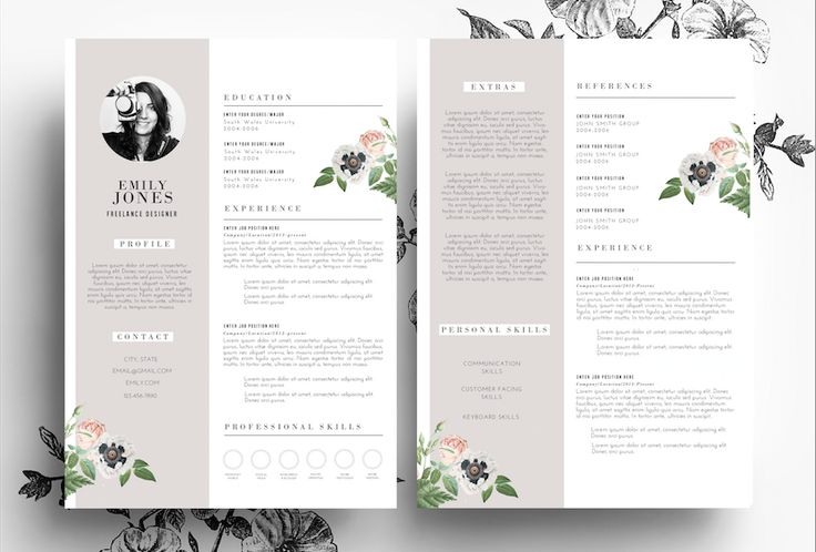 Resume Template in PSD and Word file by Emily's ART Boutique  on Creative Market