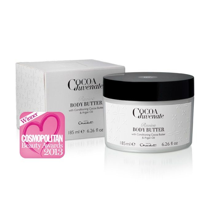 Voted Best Body Moisturizer in the 2013 Cosmopolitan Beauty Awards, our Revive Body Butter is made with West Indian cocoa and Moroccan argan oil for a truly indulgent pampering experience. #hotelchocolat #hcdreamhamper