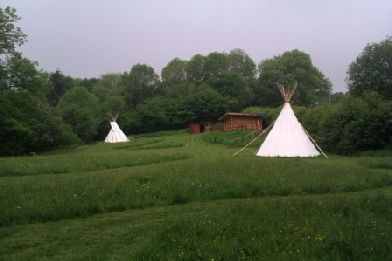 Glamping Wales in a tipi at Camp Cynrig Glamping Village