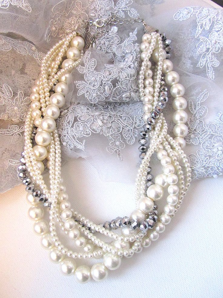 twisted, braided, pearl necklace via Etsy.