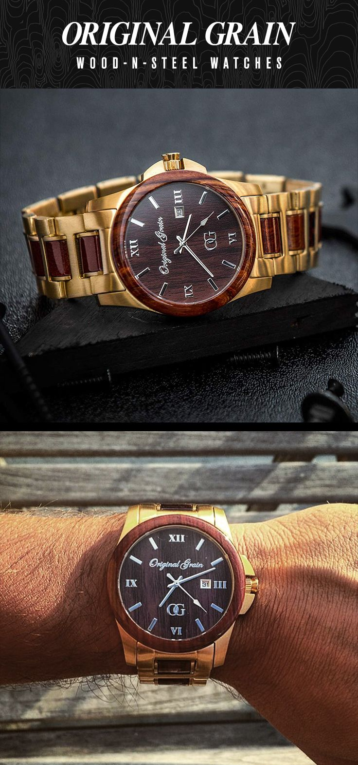 Make a style statement with this Exotic Rosewood and Gold Steel Watch. The perfect gift this holiday season! Free Shipping Worldwide!