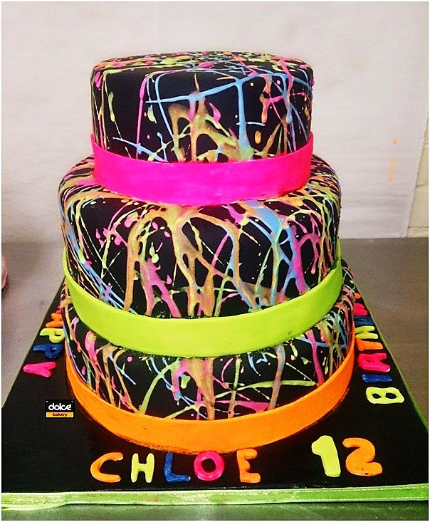 Three-Tiered Birthday Cakes | this three tiered splatter cake was for a 12th birthday and was ...