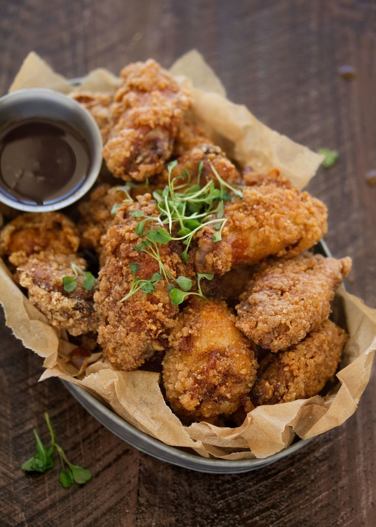 Fried Chicken and Waffle Wings with Bourbon Maple Syrup - the best of all the worlds recipe from cookingwithcocktailrings.com @cookingwithring