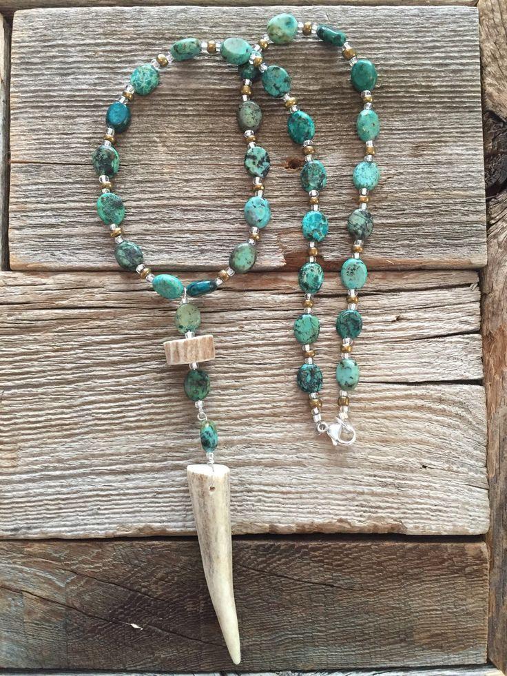 Deer Antler Necklace. Antler Tip. Real Antler Jewelry. Turquoise Antler Necklace. Turquoise Necklace.