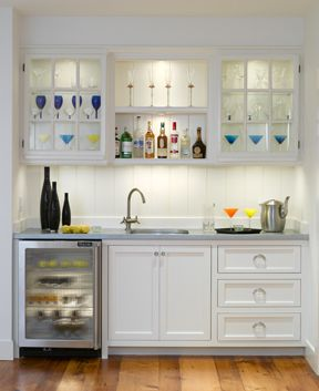 Wet bar- love the sink, wine fridge, and drawers. Want to add a trash can.