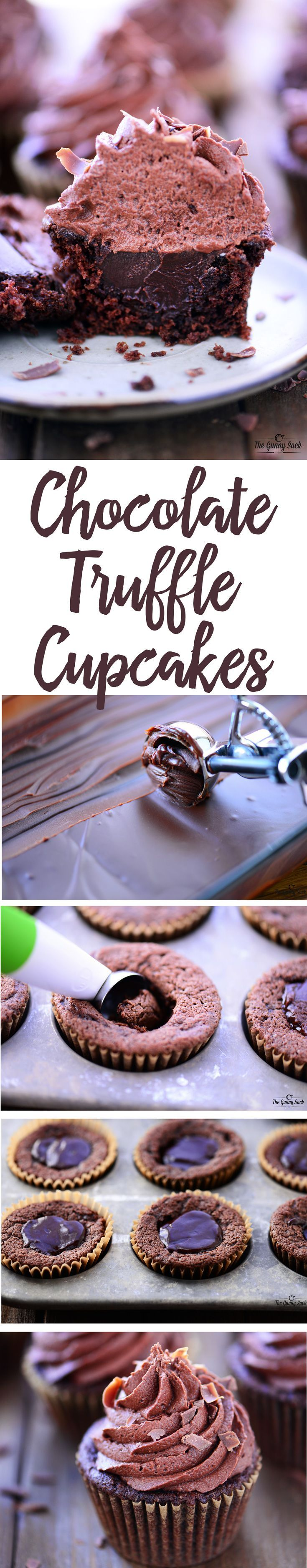 Chocolate Truffle Cupcakes Recipe   Moist chocolate cupcake with a chocolate truffle stuffed in the middle and chocolate buttercream frosting on top!