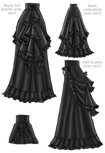 Layered Victorian Bustle Skirt